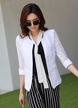 Cut-Out Collarless Jacket, Styleonme