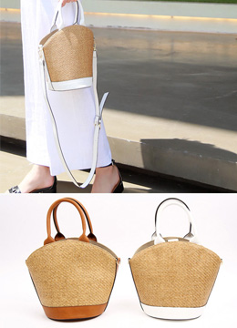 Shoulder Straps Rattan Basket Bag, Styleonme
