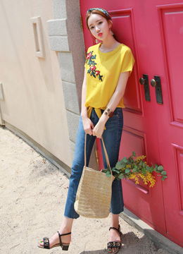 Pearl Accent Flower Embroidery Round Neck Tee, Styleonme