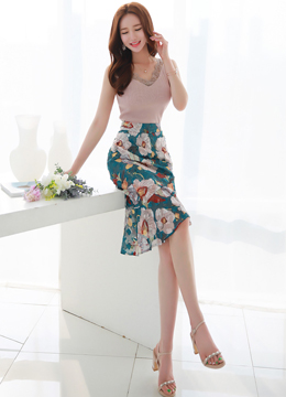 Asymmetrical Floral Print Mermaid Hem Skirt, Styleonme