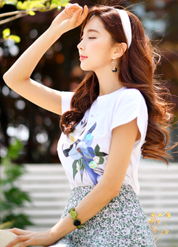 Sequin Floral Print Cotton Tee, Styleonme