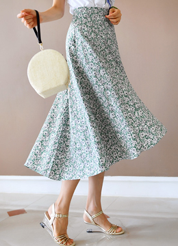 Floral Print Long Flared Skirt, Styleonme