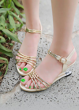 Metallic Transparent Heel Wedge Sandals, Styleonme