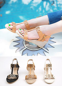 Gold Buckle Detail Wedge Sandals, Styleonme