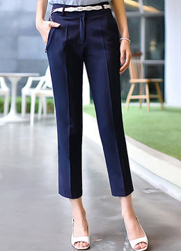 Basic Ankle Length Slim Fit Slacks, Styleonme