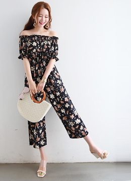 Floral Print Off-Shoulder Jumpsuit, Styleonme