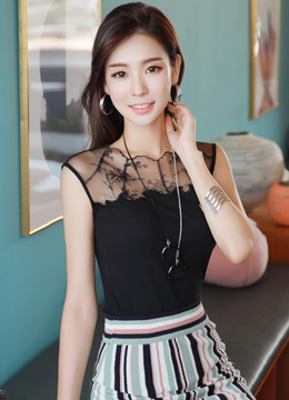 See-through Lace Sleeveless Tee, Styleonme