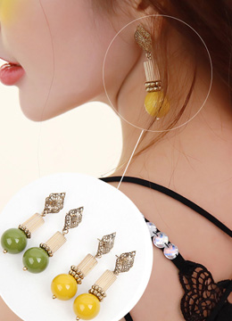 Ethnic Style Stone Drop Earrings, Styleonme