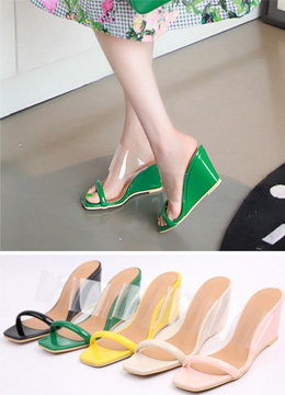 Transparent Strap Wedge Heels, Styleonme