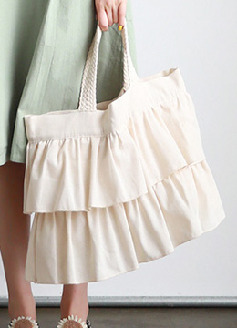 Linen Two Tier Frill Eco Bag, Styleonme