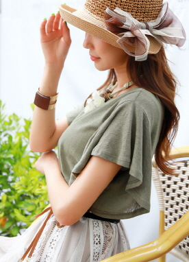 Angel Sleeve Linen T-shirt, Styleonme