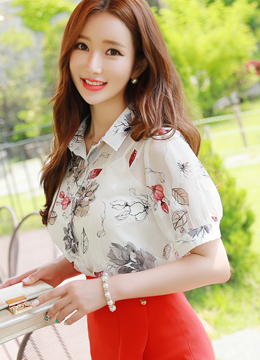 Floral Print Princess Sleeve Collared Blouse, Styleonme