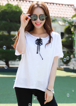 Slit Sleeve Eyelet Ribbon Detail T-shirt, Styleonme