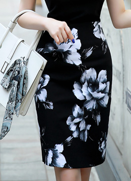 Rose Print Pencil Skirt, Styleonme