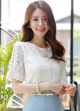 Lace Short Sleeve Blouse, Styleonme