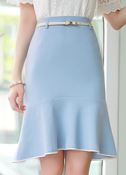 White Trim Belted Mermaid Silhouette Skirt, Styleonme
