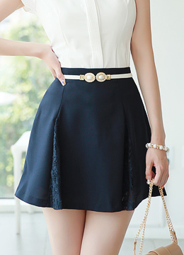 Lace Detail Flared Mini Skort, Styleonme