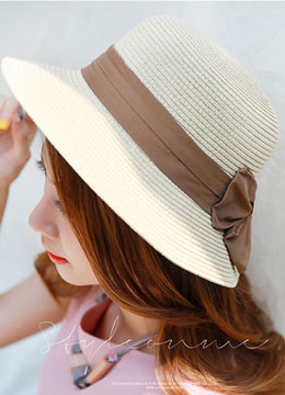 Ribbon Trim Straw Hat, Styleonme