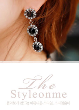 Triple Gemstone Drop Earrings, Styleonme