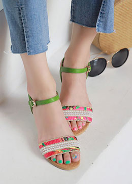 Beaded Wedge Sandals, Styleonme