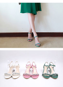 Jeweled Transparent Heel Wedge Sandals, Styleonme