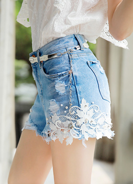 Pearl Accent Embroidered Lace Denim Shorts, Styleonme