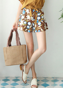 Tropical Print Flared Shorts, Styleonme