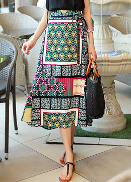 Colorful Mixed Print Long Wrap Skirt, Styleonme