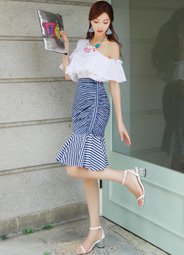 One Shoulder Frill Blouse, Styleonme