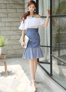 Stripe Mermaid Hem Shirred Skirt, Styleonme