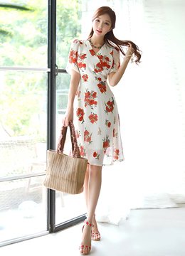 Red Floral Print Wrap Flared Dress, Styleonme