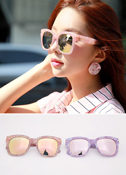 Marble Round Reflective Sunglasses, Styleonme