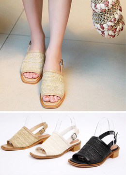 Woven Buckle Strap Sandals, Styleonme