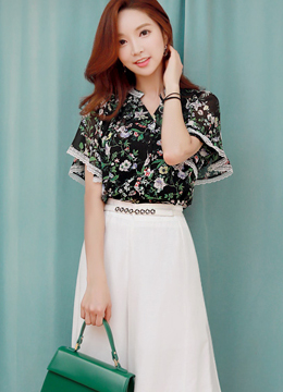 Floral Print Flared Sleeve Blouse, Styleonme