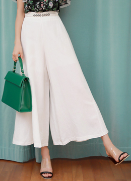 Linen Flared Wide Leg Pants, Styleonme