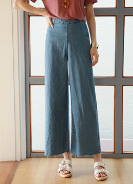 High-Waisted Wide Leg Denim Pants, Styleonme