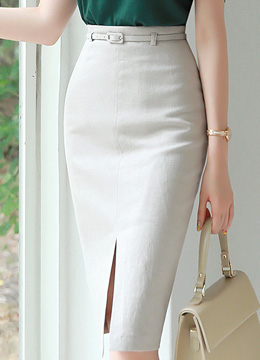 Front Slit Belted Linen Pencil Skirt, Styleonme