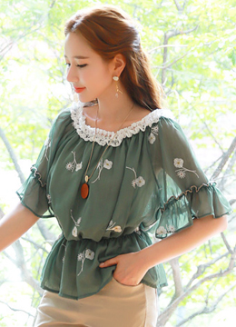 Flower Embroidered Metallic Chiffon Off-Shoulder Blouse, Styleonme