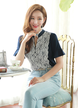 Scallop Lace Detail Ruffle Sleeve Tee, Styleonme