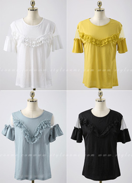 Frill Lace Detail See-through Shoulder T-Shirt, Styleonme