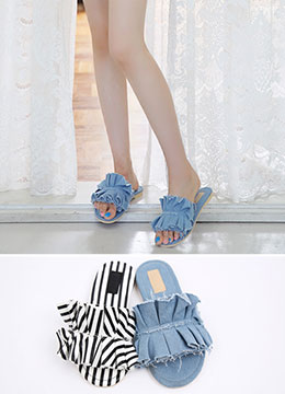 Frill Detail Slippers, Styleonme