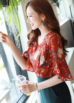 Floral Print Ruffle Half Sleeve Blouse, Styleonme