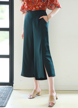 Side Slit Wide Leg Capri Slacks, Styleonme