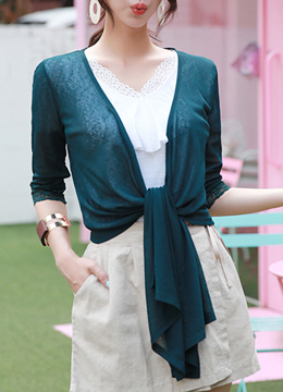 Lace Sleeve Knotted Cardigan, Styleonme
