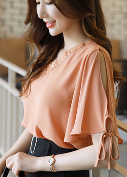 Lace Trim V-Neck Angel Sleeve Blouse, Styleonme