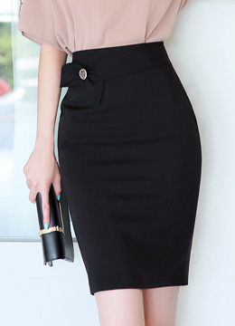 Ribbon Front Strap Pencil Skirt, Styleonme