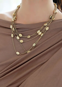 Four Strand Gold Chain Necklace, Styleonme