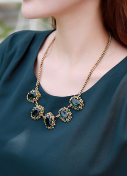 Deep Green Gemstone Statement Necklace, Styleonme