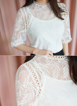Sheer Leaf Motif Lace Blouse Tank Top Set, Styleonme