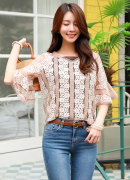 Flower Motif Lace Flared Sleeve Blouse, Styleonme
